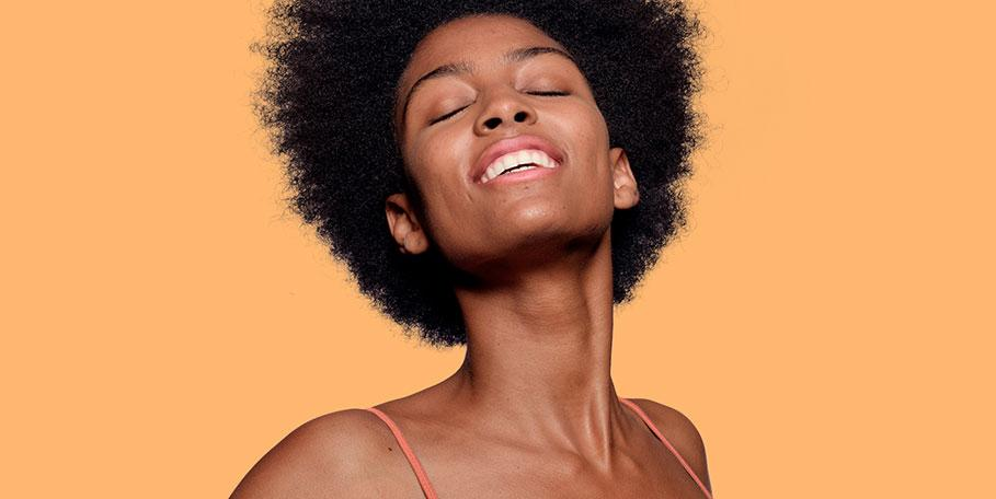 african american model with orange background