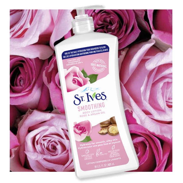 rose background with rose body lotion front of pack