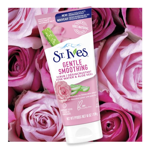 rose background with rose water face scrub front of pack