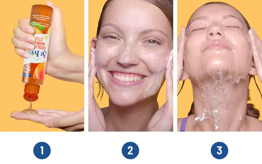 model washing her face with oil scrub