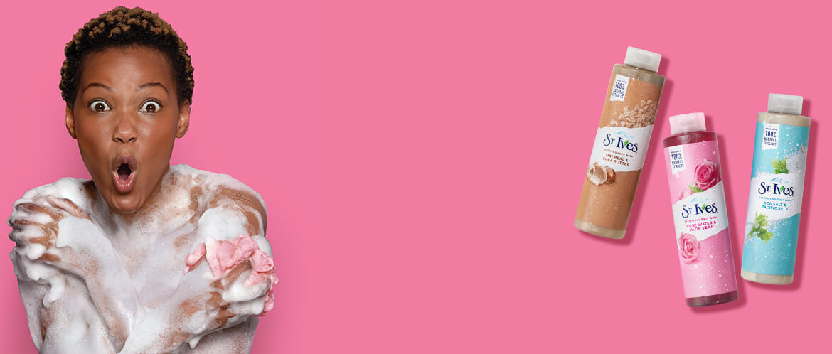 model with bodywashes pink background