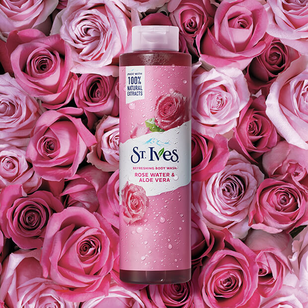 rose water and aloe vera with rose background