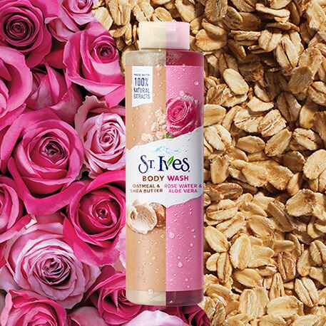 rose and oatmeal body wash image with background